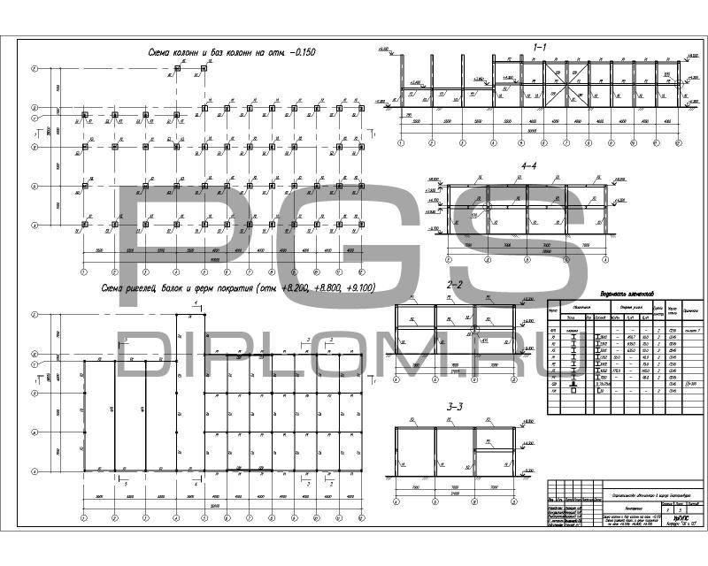 5.Схема колонн и баз колонн на ...